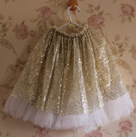 Wholesale Dance Blouses - 2016 New girls Gold sequin tutu skirts girls shiny Dance Party Skirt baby sequined Skirt 2 Color Choose for 2-6T Melee