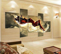 Wholesale Nude Oil Painting Large - Hand Painted Large Sexy Woman Nude Oil Painting Naked Girl Body 5 Piece Canvas Art Set Wall Decoration Home Modern Abstract Picture
