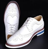Wholesale Groom Wedding Shoes White - High Quality White Men's Wedding Groom Shoes Mens Shiny Leather Shoes Unique Men Casual Shoes Breathable