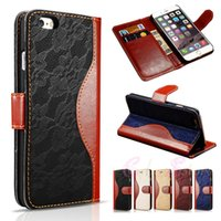 Wholesale Iphone Hybrid Stand - For iphone 6 6S Plus Hybrid Lace Retro Leather Cover Wallet Case Stand With Card Slots for iphone6 6Plus