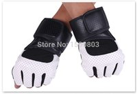 Wholesale Gloves Bycicle - Wholesale-Free shipping men PU weight lifting Gym workout outdoor bycicle riding hiking anti-slip semi finger gloves mittens