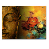 One Panel painting decoration ideas - Modern Buddha Painting Printing on Canvas Abstract portriat Buddha Head Canvas Art Painting Idea Canvas for Living Room Decoration UNFRAMED
