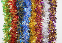 Wholesale Wholesale Christmas Decorations Tinsel - Hot ! 10pcs 2 m Festivals Decoration GARLAND Christmas Halloween Tinsel Color Bar Mixed Color