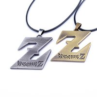 Wholesale Dragonball Z Dbz - Dragon ball Z pendant necklace DBZ Saiyan Logo Alloy Pendant Cosplay Leather Chain Necklaces Japanese Anime Dragonball necklace for men