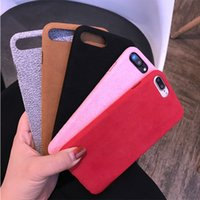 Barato Cellphone Plush-Cloth Plush Cell Phone Case para iPhone X / 8/7 / 6S / 6 Plus Microfiber Case Soft TPU Back Cover