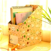 Papier de bureau en gros-Mignon Boîte de rangement Cartoon Books Creative Finishing Box Office Document Files Plateaux Magazine Holder Fichier