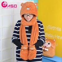 Wholesale Hat Scarf Glove Sets Women - Wholesale-Japanese Anime Kawaii winter women scarf Himouto! Umaru-chan Doma Umaru lovely marmot modelling Cosplay Cute Hat & Glove Sets