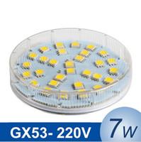 Wholesale Led Gx53 Bulb - GX53 LED Cabinet Bulb SMD 5050 7W LED Lamp Light AC 220V 230V 240V High brightness Lampada LED Spotlight Lamps
