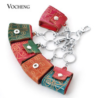 Wholesale Mixed Bag Charms - Petite Ginger Snap Keyrings Mix Colors Randomly Genuine Cow Leather Fashion Bag Key Chains 12mm Ginger Snap Charms Jewelry (Vb-065)