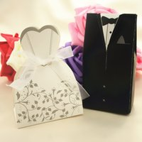 Wholesale Dhl Bridal Gowns - DHL 300pcs Creative Wedding Candy Box Bride Groom Wedding Bridal Favor Candy Gift Boxes Gown Tuxedo Paper Candy boxes