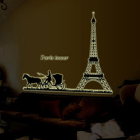 1pcs Paris Torre Eiffel City House Decoratiion para casa Ornamento Glow Islâmica 3D Wall Sticker Decal Papel de parede Vinil Adesivos Sala DIY