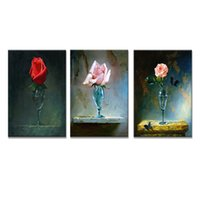 Wholesale rose wall art - 3 Panles Multi Colored Rose Canvas Painting Flower Paintings Wall Art Rose Picture Prints on Canvas for Modern Home Decoration