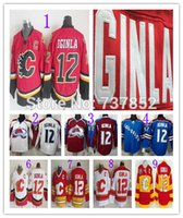 Wholesale Anti Steal - Factory Outlet, Colorado Avalanche 12 Jarome Iginla Jersey Burgundy Red Steal Blue White Stitched Throwback Calgary Flames Iginla Hockey Jer