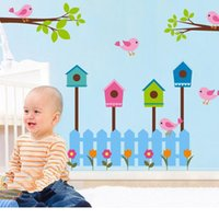 "Wholesale Blue Bird House - Large Sizee Bird House Tree Wall Sticker Nest ""Amanda"" Home Decal for Girls Room Bedroom Home Background"