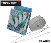 """Wholesale Exhaust Insulating - Tansky - BILL** 2""""x10m White Thermal Wrap exhaust insulating warp header warp exhaust pipe wap With STAINLESS TIES TK-WR02"""