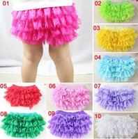 Wholesale Baby Girl Cute Costume - INS baby girl infant toddler kids lace bloomers lace pants lace shorts chiffon pants tutu costumes cute underpants pp pants harem 10