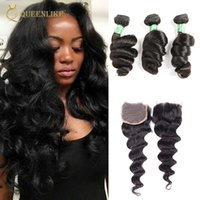 Unprocessed Raw Temple Indian Virgin Human 3 Hair Bundles With 4x4 Closure Loose Wave 1B Color Wedding Campany Queenlike 7A Grade