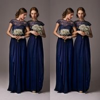 Wholesale Bridesmaid Maxi Dress Lace Sleeves - 2015 New Cap Sleeves Lace Evening Dresses With Bow Hollow Long Maxi Prom Dress Cheap In Stock Navy Blue Bridesmaid Dresses