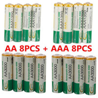 Wholesale Nimh Rechargeable Recharge Battery - BTY 8pcs 1.2v AA 3000mAh + 8pcs AAA 1350mAh Rechargeable Recharge Ni-MH NiMH Battery Free Shipping