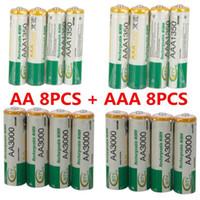 ingrosso aa battery-BTY 8 pz 1.2 v AA 3000 mAh + 8 pz AAA 1350 mAh Ricarica Ricarica Ni-MH NiMH Batteria Spedizione Gratuita