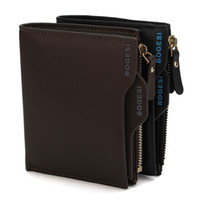 Wholesale Houndstooth Mens - 2016 luxury wallet Bogesi Man Wallet Short Purse Bifold Mens Solid Leather Wallets Multi Slot Pocket Credit Card Photo Holder Zipper Pouch