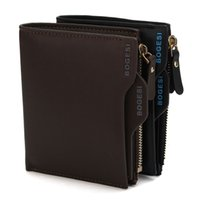 Wallets black leather coin pouch - 2016 luxury wallet Bogesi Man Wallet Short Purse Bifold Mens Solid Leather Wallets Multi Slot Pocket Credit Card Photo Holder Zipper Pouch