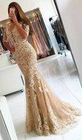 appliques de dentelle d'or pure achat en gros de-2019 dos nu or sirène robe de bal appliques en dentelle demi manches longues robes de soirée robe de soirée pour la fête