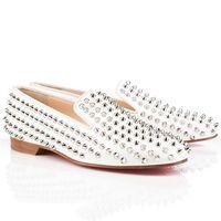 los zapatos claveteados liberan el envío al por mayor-ROLLERBOY Spikes Men Mocasines inferiores rojos Zapatos holgazanes de las mujeres planas blanco Vestido de fiesta de boda de cuero genuino zapatos envío gratis