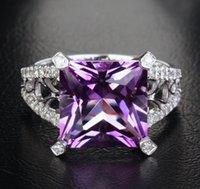 ingrosso anelli di fidanzamento ametista anelli bianchi-Spedizione gratuita Genuine Natural Diamond Purple Amethyst Anello di fidanzamento Solid 14K White Gold (R0110)