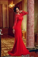 Wholesale Maternity Evening Prom Gowns - New Arrival Red Sexy Lace Long Sleeves Mermaid Backless Formal Dress Open Back Lace Evening Dresses Long Prom Gowns 2016 Custom Made d034
