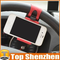 Wholesale wheel cars for sale for sale - Hot Sale Car Steering Wheel Mount Holder Rubber Band For iPhone5 s Plus iPod MP4 GPS Mobile Phone Holders With Retail Package