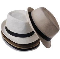 Wholesale Straw Hats For Cowboy - Men Women Panama Straw Hats Fedora Stingy Brim Hats Soft Vogue For Unisex 5 Colors Summer Sun Beach Caps Linen Jazz