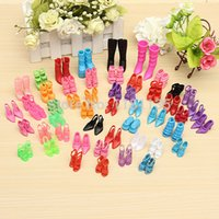 Wholesale Wholesale Trendy Heels - 60 Pairs Trendy Mix Assorted Doll Shoes Multiple Styles Heels Sandals For Barbie Dolls Free Shipping