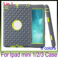 Wholesale diamond ipad covers - 3D Rhinestone Cover Case Shiny Diamond Heavy Duty Robot Hard PC Silicone Back Case For Apple iPad Mini 1 2 3 Retina