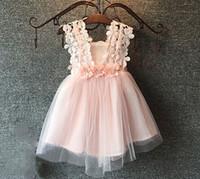 Wholesale Girls Crochet Vests - Girls princess dress summer children lace Crochet tulle tutu dress beaded flower kids vest party dress A6764