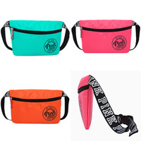 Wholesale Fanny Pack Fashion - Pink Fanny Pack Pink Letter Waist Belt Bag Fashion Beach Travel Bags Waterproof Handbags Purses Outdoor Cosmetic Bag