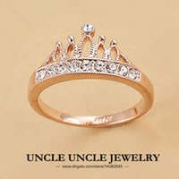 Wholesale Crown Ladies Rings - Rose Gold Color Rhinestones Retro Princess Crown Design Lady Finger Ring 18krgp