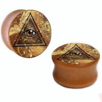 Wholesale Triangle Ear Plugs - Wholesale 8mm-25mm Golden Triangle All See Eye wood plug gauges flesh tunnel saddle ear plugs ear expander WSP004