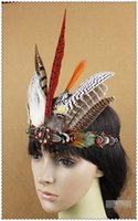 Wholesale Burlesque Hats - feather Headdress hat Burlesque dancing burlesque headdress halloween supply dancing supply decor 8 inch full high