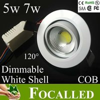 Wholesale down lamp ceiling dimmable led 5w online - AC85 v w w dimmable surface mounted cob led ceiling lamp recessed down light lamp led downlights cut hole mm beam angle UL CSA