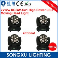 Gros-4pcs / lot 7x12w RGBW 4in1 High Power LED Moving Head Light / concurrentiel DJ équipements de prix pour Disco Bar / SX-MH0712