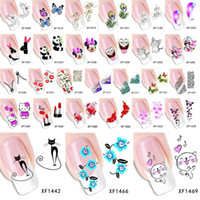 Wholesale Top Nail Water Decals - Sheet 2015 Top Sell Flower Bows Etc Water Transfer Sticker Nail Art Decals Nails Wraps Temporary Tattoos Watermark Nail Tools JIA417