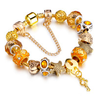 Wholesale Crystal Diamond Beads Wholesale - Hot Sell European Style Gold Plated Crystal Created Diamond Charm Bracelet for Women Glass Beads DIY Jewelry AA84