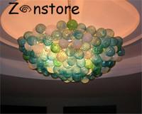 boules de chandelier en verre contemporain achat en gros de-Murano Balls Chandelier- Décor de table de salle à manger contemporaine 100% verre soufflé Chihuly Lustre LED chaîne chandeliers