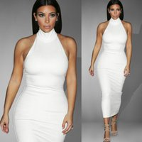 Wholesale Kardashian Bodycon - 2016 Hot New White Kim Kardashian Evening Celebrity Dress In Store Real Image High Neck Sleeveless Prom Dress Tea Length Elegant Party Gown