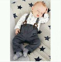 Wholesale Gentleman Suspender Pants - Baby Boy 2 Piece Sets 8757 Dino Shirts+Suspenders Pants Baby Boy Gentleman Sets 0-3Y