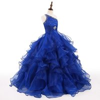 Wholesale Pageant Dresses Wholesalers - Royal Blue Organza Little Girls Pageant Dresses 2018 Actual Image One Shoulder Ruffle Beads Puffy Elegant Runway Kids Formal Wear Prom Gowns