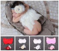 Wholesale Red Ribbon Costumes - 1Set New Feathered Angel Wings + metallic ribbon Headband diamante rose Flower Set Perfect Babies little fairytale costume Photo Prop YM6116