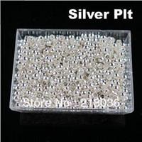 Wholesale 2mm Crimps - Vintage 10000PCS 2mm Copper Round Silver Plt Crimp Metals Beads Charm For DIY Jewelry Necklace Bracelet Handcraft Accessories A1231