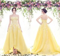 Wholesale Noble Models - Noble High Low Strapless Evening Dresses Chiffon Applique Lace Yellow Vestidos De Festa Long Party Dress Prom Formal Pageant Celebrity Gowns